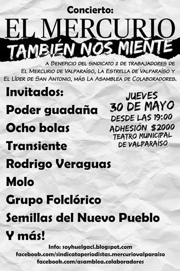 Hoy jueves 30 de mayo concierto en el Municipal en apoyo a la huelga, asiste!