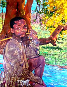 Niño negro, pintura de José Martínez